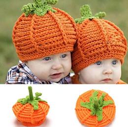 BaBy girl knitting Beret hat online shopping - Baby Pumpkin Hat Newborn Photography Props Pumpkin Handmade Kids Hats Boys Girls Halloween Crochet Knitted Caps GGA2741