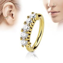 Nose Bars Australia - Piercing Zircon Crystal Diamond Nose Stud Body Jewelry Nose Ring Bar Helix Cartilage Earring Stud