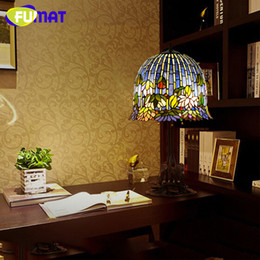 Free Bedside Table Australia - FUMAT Vintage Living Room Table Lamp Handicraft Bedside Lamp led Light Stained Glass Bedroom Lamp Lustre Classical free shipping