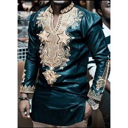 $enCountryForm.capitalKeyWord Australia - New 2019 Fashion African Men's T-shirt Rich Bazin Print Tops Shirt Dress Long Sleeve For African Dresses Man Casual Clothes