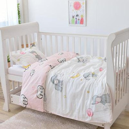 $enCountryForm.capitalKeyWord NZ - With Filling pink elephant soft baby bedding set infant Boys girls Crib Bedding set for girl unpick and wash,Duvet  Sheet Pillow