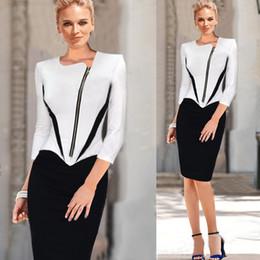 487e819f923a Abito da donna elegante con maniche lunghe in bianco e nero Abito formale da  donna adatto per ufficio da lavoro