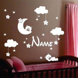 $enCountryForm.capitalKeyWord Australia - Personalized Name Baby Nursery Room Moon and Star Vinyl Wall Stickers, Cute Smiling Stars with White Clouds Kids Room Decor Art