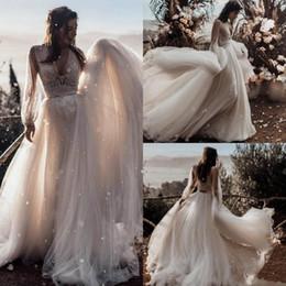 Bridal t shirts online shopping - Beach Wedding Dresses Deep V neck Long Sleeves Boho Bridal Dresses robes de soirée Cheap Lace Two Pieces Wedding Gowns