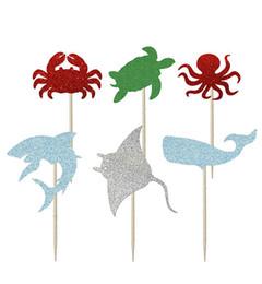 $enCountryForm.capitalKeyWord Australia - Glitter Ocean Theme sharks Cupcake Toppers baby shower birthday cake toothpicks wedding topper Party Supplies Decoration
