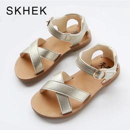 Summer Shoes Kids Australia - Skhek Pu Leather Girls Shoes Kids Summer Baby Girls Sandals Shoes Skidproof Toddlers Infant Children Kids Shoes Black Gold White Y19051403