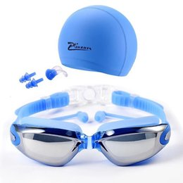 $enCountryForm.capitalKeyWord Australia - Wholesale-2018 New Swim goggles with cap Ear Plug Nose Clip Suit Professional Swimming Glasses anti-fog PU hat Waterproof Swim Eyewear