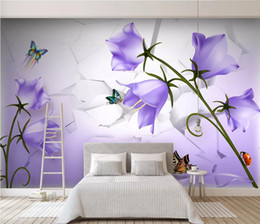 beautiful butterfly wallpapers 2019 - Beautiful dreamy purple flower butterfly 3D TV background wall wallpaper for walls 3 d for living room cheap beautiful b