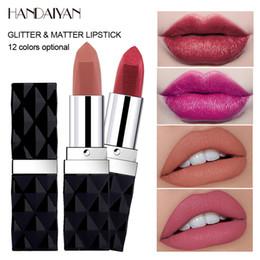 $enCountryForm.capitalKeyWord Australia - Handaiyan diamond glitter lipstick 12colors nude rose red gold lip cream waterproof long lasting velvet matte lipstick HF109
