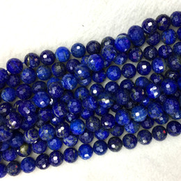 "$enCountryForm.capitalKeyWord Australia - Genuine Natural Dark Blue Lapis Lazuli Faceted Round Loose Beads DIY Necklace or Bracelets 15.5"" 05900"