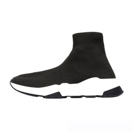 best mens slip on boots Australia - Best Quality Speed Trainer Black Designer Sneakers Mens Women Black Red Casual Shoes Fashion Socks Sneaker Top Boots Size36-45 xde12