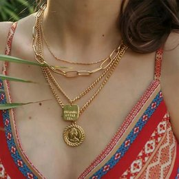 Coined neCklaCes online shopping - Vintage Multilayer Coin Necklaces Letter Women Head Tag Pendant Bohemia Beach Statement Chokers Jewelry for Women DHL