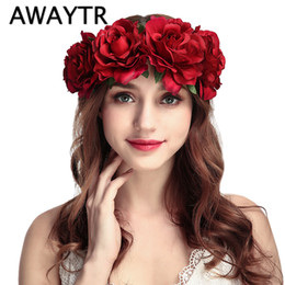 126f7be6563 Wedding Flower Crown Head Band Women Wedding Floral Head Wreath Bridesmaid Bridal  Headpiece Female Flower Headband