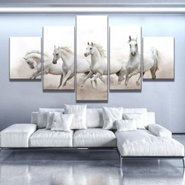 $enCountryForm.capitalKeyWord Australia - Groups Of White Horse Oil Painting Fashion home decor Wall Picture 5 Pcs set Canvas Print Wall Poster For Drawing room No frame