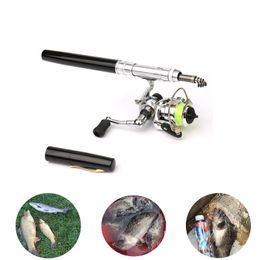 Vente en gros Pocket Mini canne à pêche Pêche forme de pôle Pen plié Rod Avec métal Moulinet Roue Accessoires