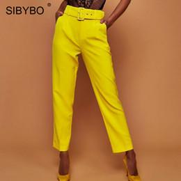 548dc291d Sibybo Autumn High Waist Belt Casual Pants Women Fashion Straight Pockets  Office Lady Women Trousers Streetwear Women Pants 2018 C19040401