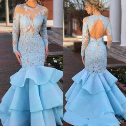 mermaid fishtail skirt Australia - 2019 Modest Lace Prom Dresses with Ruffles Skirt Long Sleeve Sheer Jewel Neck Open Back Mermaid Pageant Fishtail Sky Blue Evening Gowns