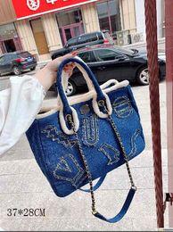 Fine linens online shopping - Fashion Bags Super hot fashion High version Fine workmanship Imported hardware Wrapped denim size CM