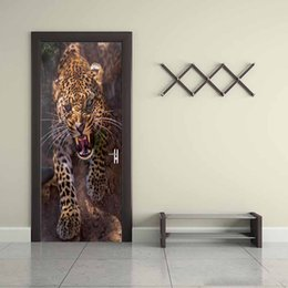 Large Animal Wall Stickers Australia - 2Pcs Set Creative Animal Ferocious Cheetah Door Stickers Painting Wallpaper Poster Wall Sticker Bedroom Living Room Home Decor