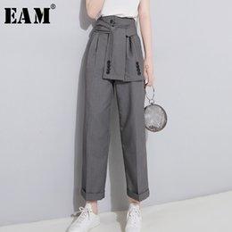 Black Wild Jersey Australia - [EAM] 2019 Spring High Waist Lace Up Black Slim Temperament Tide Trend Fashion New Women's Wild Casual Wide Leg Pants LA462 T19053002