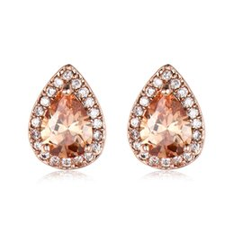 Pear shaPe earrings online shopping - Luckyshien7 Color Pairs New Holiday Gift Jewelry Pear shaped Opal Stud Ear Gems Sterling Silver Plated Zircon Stud Wedding Earring