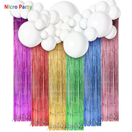 shower curtain diy Canada - Nicro Unicorn Theme Tassel Curtain Balloons Kit Baby Shower Happy Birthday Home Decoration Diy Decor New Party #set116 T190709