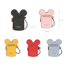 Shape Card Holder Australia - Wholesale Ready To Ship PU ID Card Holder Personalized Mouse Shape PU Card Cover Polka Dots ID Card Holder With Lanyard DOM-108779
