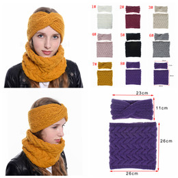 Discount twist headband women - 8styles knitted headband scarf set Collar winter wool warm outdoor scarf Twist headwear for women girl fashion scarf 2pc