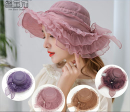 $enCountryForm.capitalKeyWord UK - Summer hat uv - resistant European and American organza fashion mesh gauze hat with large brim hat lady lace