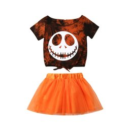 girls holiday t shirts 2020 - Halloween Kids Baby Girls Clothes Skull Short Sleeve T-shirt Tops + Tutu Skirt 2PCS Holiday Set Outfits Clothes Set 1-4Y