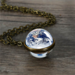 $enCountryForm.capitalKeyWord Australia - 2019 Galaxy Christmas gifts pendant necklace chain double sided moon earth necklace handmade Mother's Day gift boyfriend