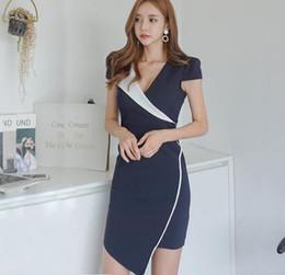 $enCountryForm.capitalKeyWord Australia - Color Block Office Lady Suit Dresses of Girls Asymmetric Sweep Sexy Bodycon Dress 2018 Summer Short Sleeve Dress Slim