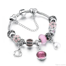 $enCountryForm.capitalKeyWord NZ - European Style Authentic Tibetan Silver PINK Crystal Charm Bracelets for Women Original DIY Beads Jewelry AA65