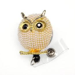 Owl badge online shopping - 10pcs a Hot sell animal pearl luxury cartoon owl Rhinestone yoyo ID badge Holder Reel