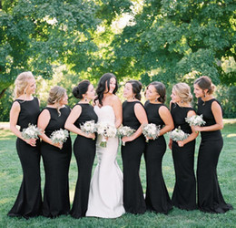 $enCountryForm.capitalKeyWord Australia - Cheap Black Backless Bridesmaid Dress Mermaid Summer Country Garden Formal Wedding Party Guest Maid of Honor Gown Plus Size Custom Made