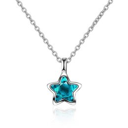Blue Star Pendant Australia - 15pcs Fashion Pendant Chain Cute Pentagon Clavicle Chain Hanging Female Student Blue Star Necklace Body Jewelry