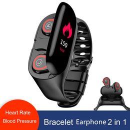 $enCountryForm.capitalKeyWord Australia - M1 Dual Bluetooth TWS 5.0 Earphone Smart Bracelet 2 in 1 Heart Rate Blood Pressure Tracker Smart Watch Men For IOS Android Phone