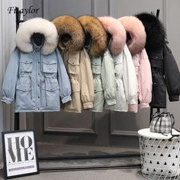 duck tie NZ - Fitaylor Winter Jackets Women White Duck Down Large Natural Raccoon Fur Coat Hooded Parkas Female Sash Tie Up Snow Outwear SH190926