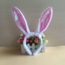 $enCountryForm.capitalKeyWord Australia - Easter dress up Flash Rabbit Headband Glitter Cute Fluffy Rabbit Ear Ball Party Rabbit Headdress Glitter Girl Toy Hairpin Hair Sticks
