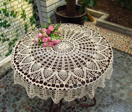 $enCountryForm.capitalKeyWord UK - Openwork Crochet Handmade Fabric Flowers Cover Small Round Tablecloths Wedding Tablecloths Pineapple Flower Doilies T8190620