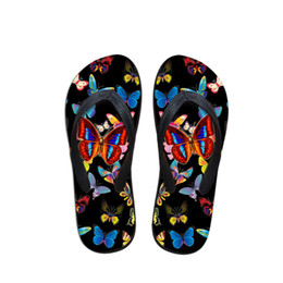 $enCountryForm.capitalKeyWord Australia - Customized 3D Animal Butterfly Prints Women House Flip Flops Casual Summer Beach Slippers for Ladies Black Flipflops Mujer