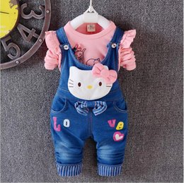 47218fe33 New Spring Autumn Children's Sets hello kitty cotton T-shirt & Denim  Overalls Girl Clothing Set Children Clothing Kids Clothes