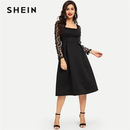 570069cf63 SHEIN Going Out 3D Applique Boxed Pleated Solid Square Neck Pleated Knee  Length Dress 2018 Autumn Modern Lady Women Dresses