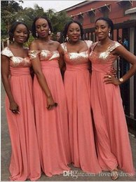$enCountryForm.capitalKeyWord Australia - Glittering Coral Sequined Bridesmaid Dresses Cheap Long 2019 Chiffon Empire Beach Off the shoulder With Sleeves Party prom Evening Dress