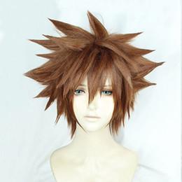 sora cosplay 2019 - ePacket free shipping >Kingdom Hearts III Sora Short Afro Pale Brown Heat Resistant Cosplay Wig cheap sora cosplay