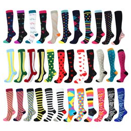 knee high compression running socks UK - Running Men Women Socks Sports Compression Happy Tube Socks Support Nylon Unisex Outdoor Racing Long Pressure Stockings High