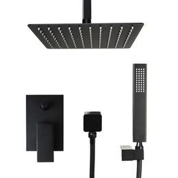 12 rain shower head online shopping - Bathroom square design in ceiling mounted shower set black plated bath diverter mixer faucet inch rain shower head