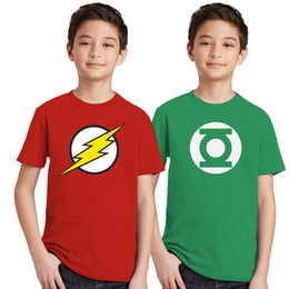 Wholesale superhero orange costume for sale – halloween 2pcs The Kids T Shirts Children Boys Girls Flash Man Logo T shirt Green Lantern Tops Superhero Costumes Toddler Tshirt J190529