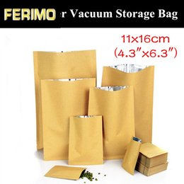 "vacuum sealed storage bags Australia - 100pcs 11x16cm (4.3""x6.3"") 280micron 3 Sides Sealing Paper Kraft Storage Bag Heat Sealed Vacuum Foil Bag Open Top Paper Bag"