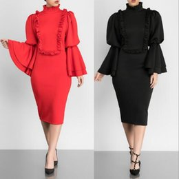 speaker sexy NZ - 2019 New Fast Selling Amazon Europe and America Fashionable Sexy Ear-edged Speaker Sleeve Pencil Dresses Manufacturer Direct Size S-XL